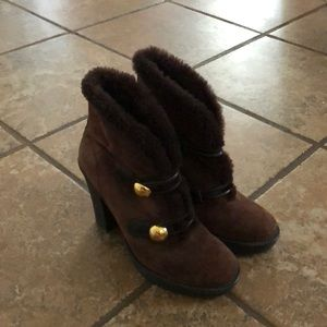 Coach brown fur high heeled boots